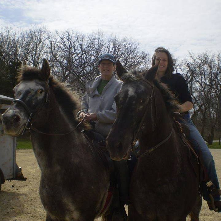 Blog author and mom riding horses