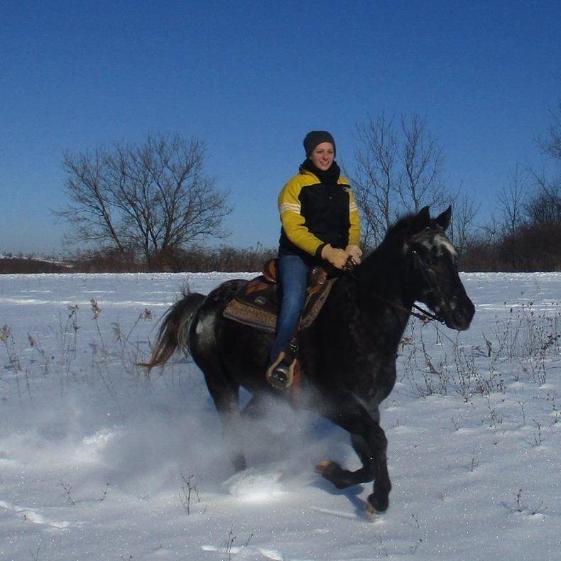 Blog author riding horse through snow