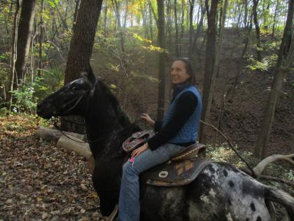 Close up of horse and trailrider at Matthiessen State Park in Oglesby, Illinois.
