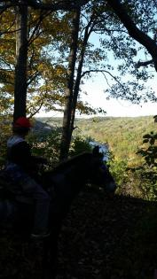 Horse and trailrider overlooking a bluff at Matthiessen State Park in Oglesby, Illinois.
