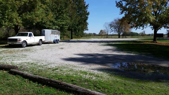 Truck and horse trailer in parking lot at Wolf Creek State Park