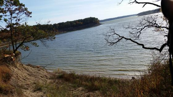 Sandy ridge looking out over the lake Shelbyville at Wolf Creek State Park